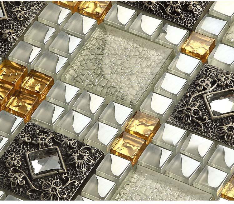 Wholesale Vitreous Mosaic Tile Diamond Crystal Glass Backsplash Kitche