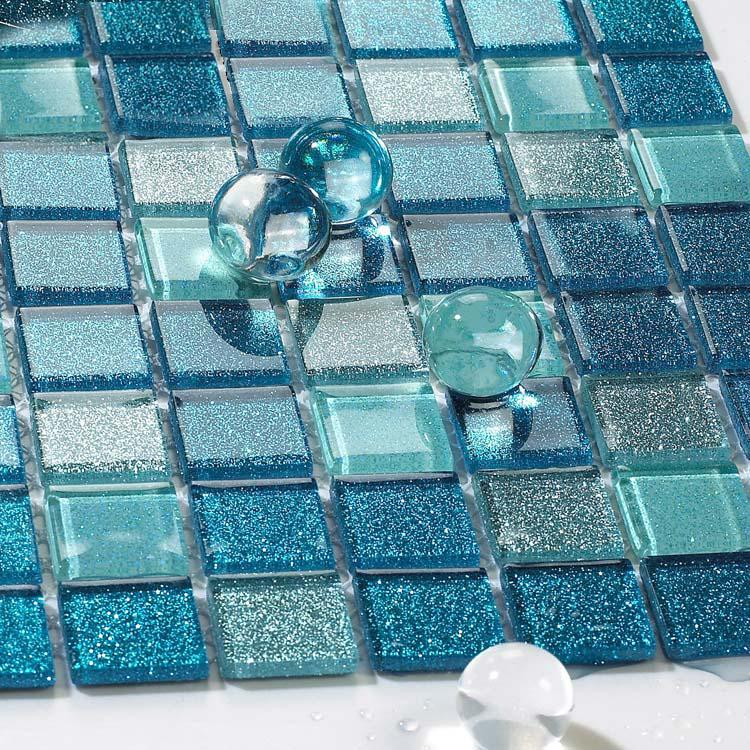 Blue glass tile bathroom