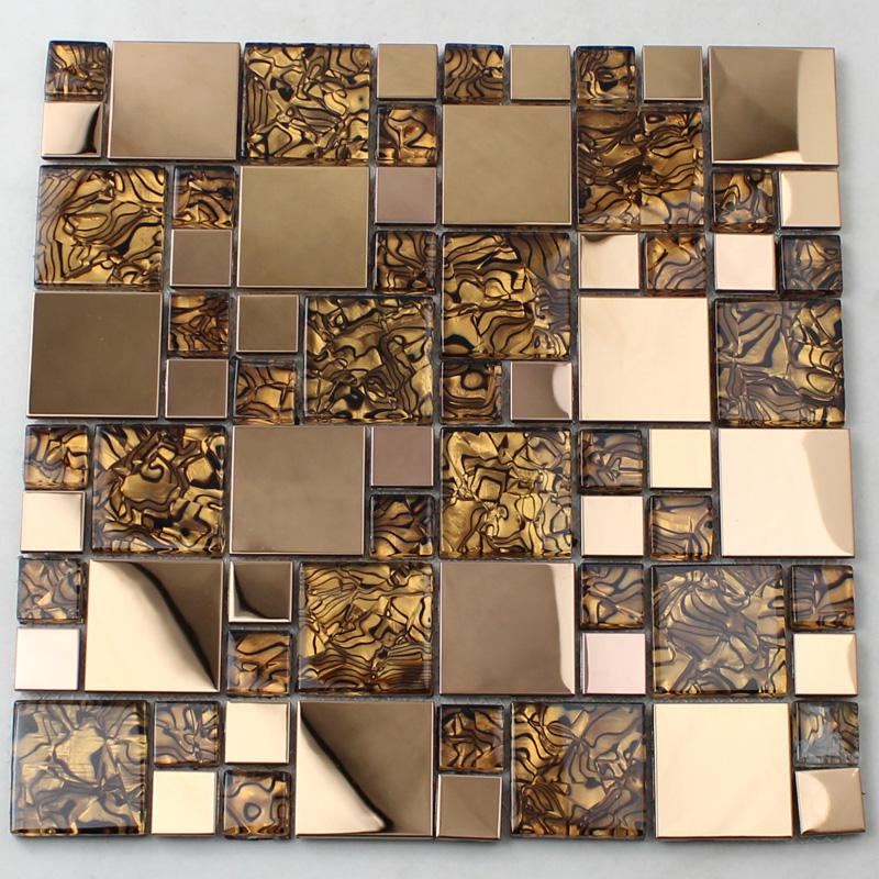 Wholesale Vitreous Mosaic Tile Backsplash Gold 304