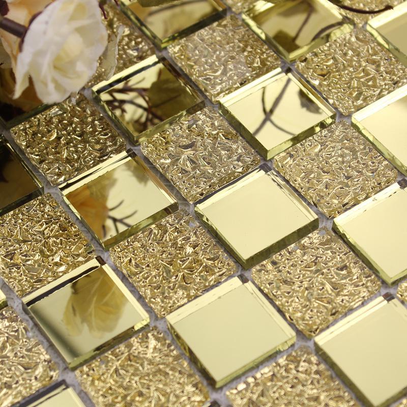 Wholesale mirror tile backsplash gold vitreous glass for Mirror tiles