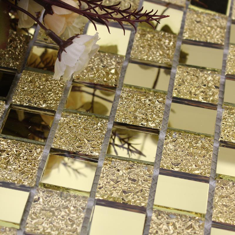 Wholesale mirror tile backsplash gold vitreous glass for Gold mosaic bathroom accessories