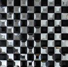 vitreous mosaic tile crystal glass backsplash kitchen black white pyramid design bathroom wall tiles