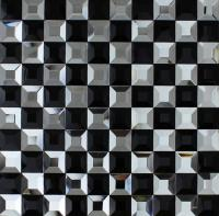 vitreous mosaic tile crystal glass backsplash kitchen black white pyramid design bathroom wall tiles