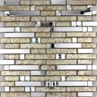 metallic backsplash tiles brown 304 stainless steel sheet metal and crystal glass mosaic wall decor