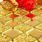 mosaic tile crystal glass backsplash dining room design bathroom wall floor gold mirror tiles