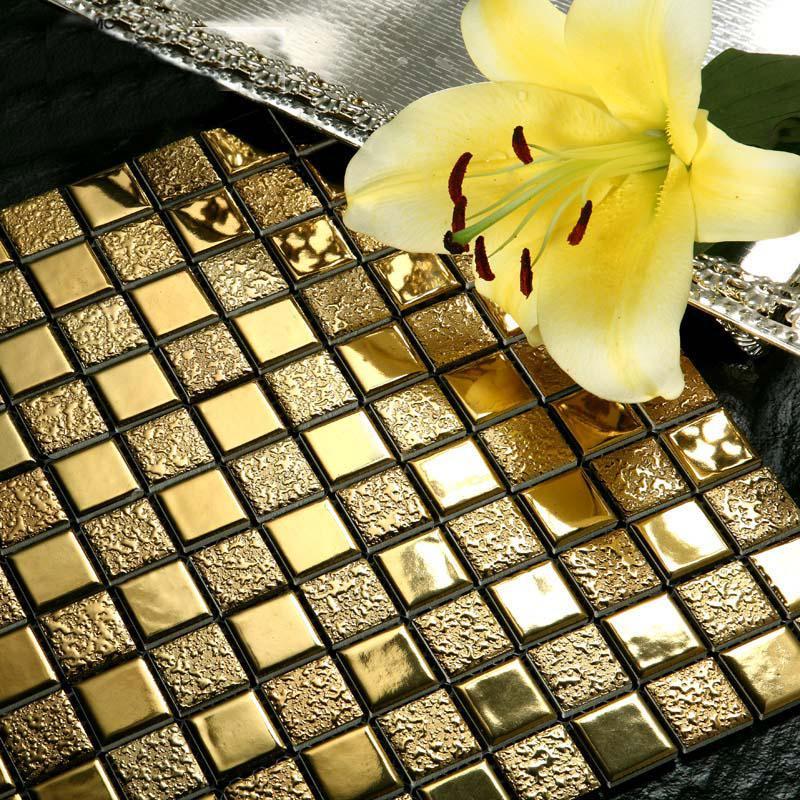Wholesale Porcelain Bathroom Wall Interior Decorative Gold Plated Tile