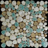 heart-shaped porcelain pebble tile sheets glazed ceramic mosaic PPT009 kitchen backsplash bathroom shower wall stickers