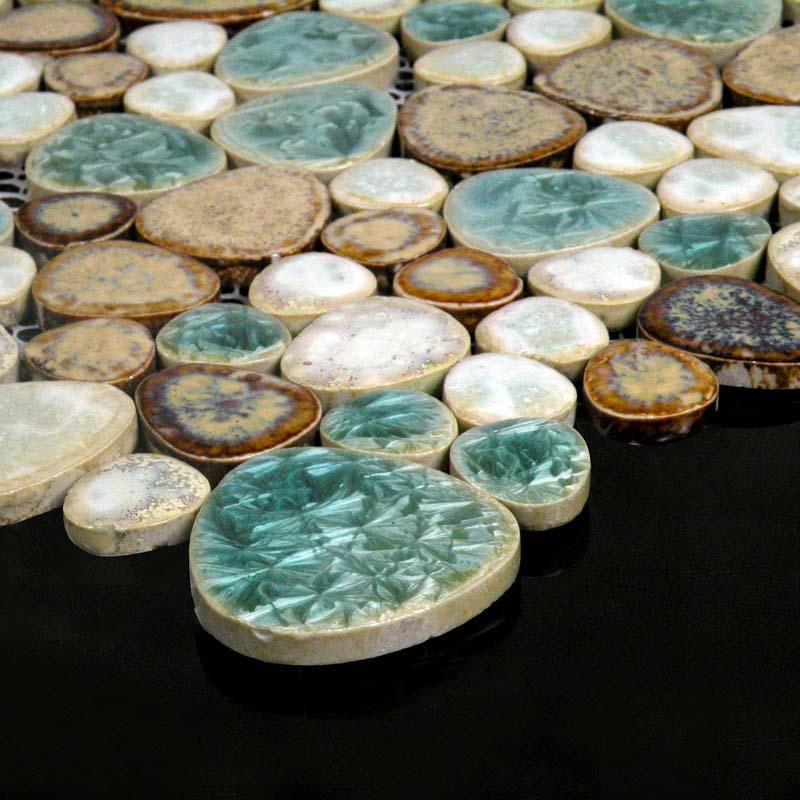 wholesale mosaic art collection mixed heart shaped porcelain pebble ti. Black Bedroom Furniture Sets. Home Design Ideas