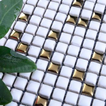 glazed porcelain tile mosaic mirrortiles floor bathroom mirror wall sticker plated gold backsplash