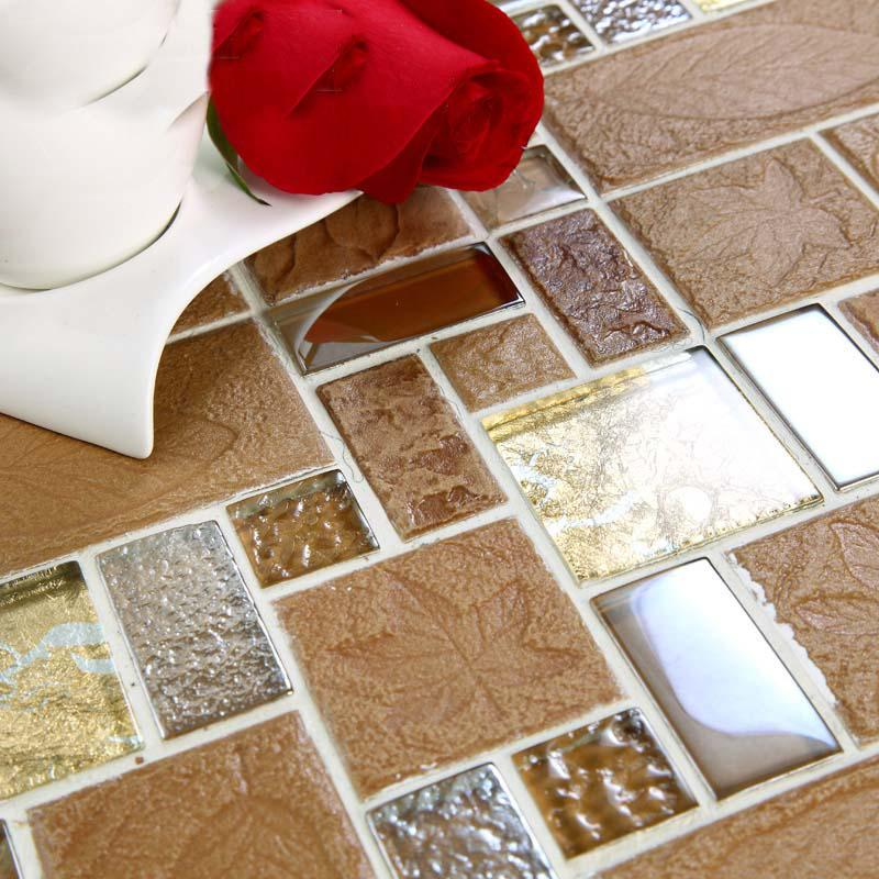 Wholesale porcelain glass tile wall backsplash tan crystal for Craft mosaic tiles bulk