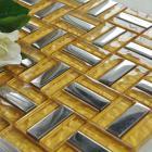 metallic backsplash tiles silver 304 stainless steel sheet metal and gold crystal glass blend mosaic