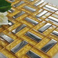 metallic backsplash tiles silver 304 stainless steel sheet metal and gold crystal glass blend mosaic