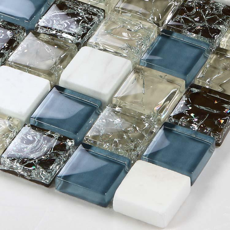 Sample Cream Crackle Glass Mosaic Tile Kitchen Backsplash: Wholesale White Stone With Crackle Crystal Mosaic Tile