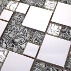 metallic backsplash tiles silver 304 stainless steel sheet metal and crystal glass blend mosaic wall