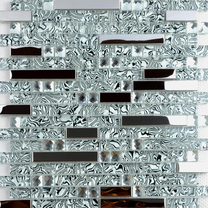304 Stainless Steel Sheet Metal And Crystal Glass Blend Mosaic Diamond Tiles Metallic Backsplash