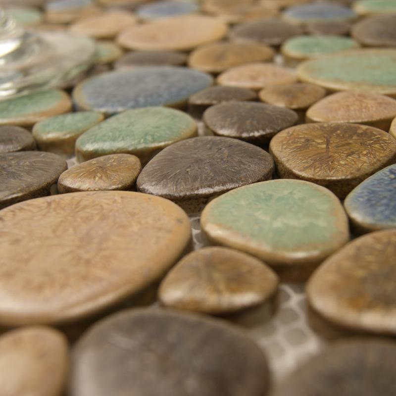 Porcelain Tile Mosaic Pebble Design Shower Tiles Kitchen Backsplash Wall Sticker Bathroom Bedroom