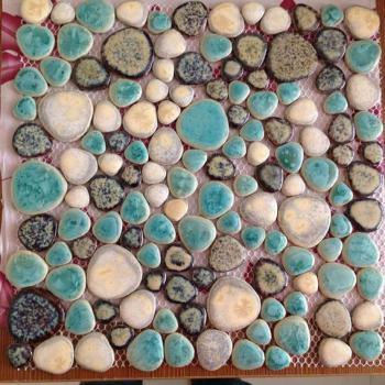 mosaic art collection mixed heart-shaped porcelain pebble tile sheets bathroom shower wall stickers