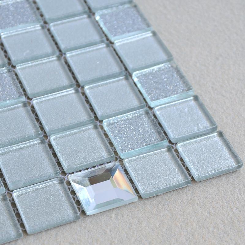 Wholesale grey crystal glass mosaic tiles washroom for Washroom tiles design