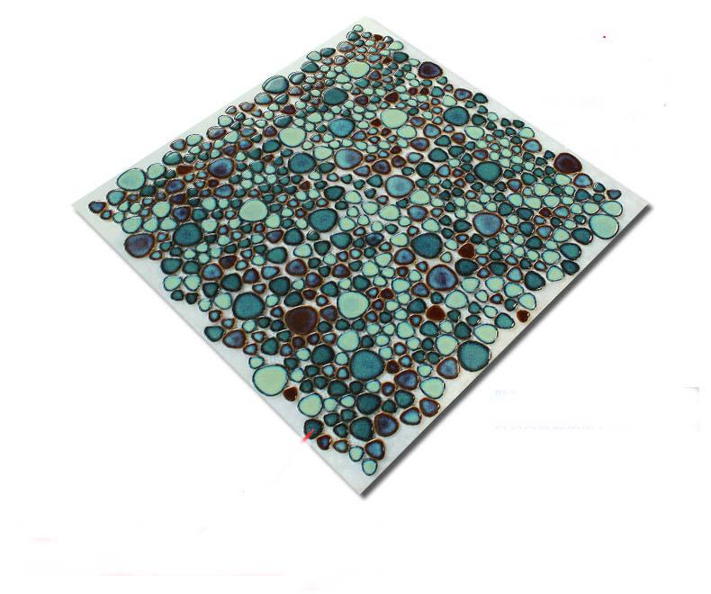 porcelain pebble pool tile mosaic floor sticker. Black Bedroom Furniture Sets. Home Design Ideas