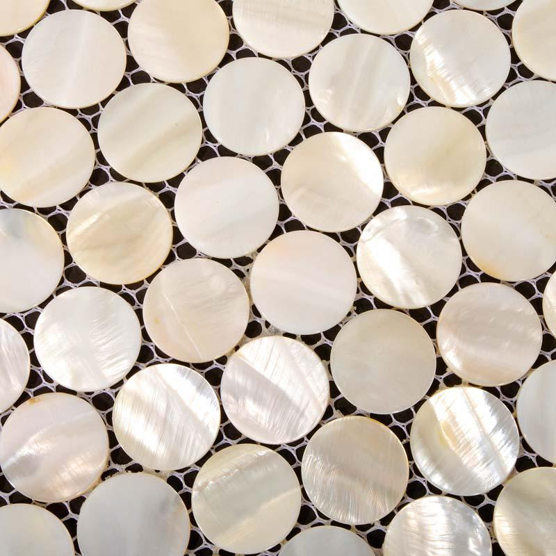 mother of pearl tiles penny round bathroom wall mirror tile hominter. Black Bedroom Furniture Sets. Home Design Ideas