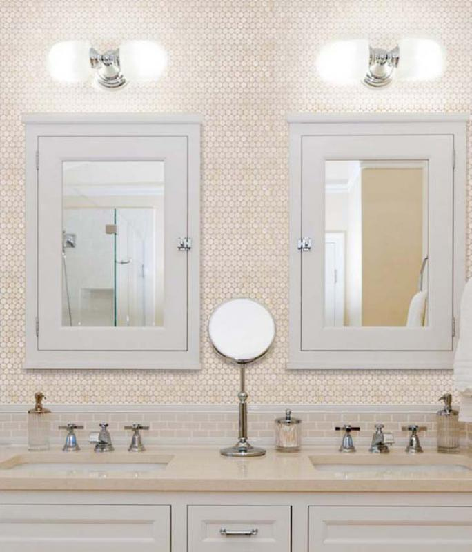 Penny Round Mother of Pearl Wall Mirror Tile | Hominter.com