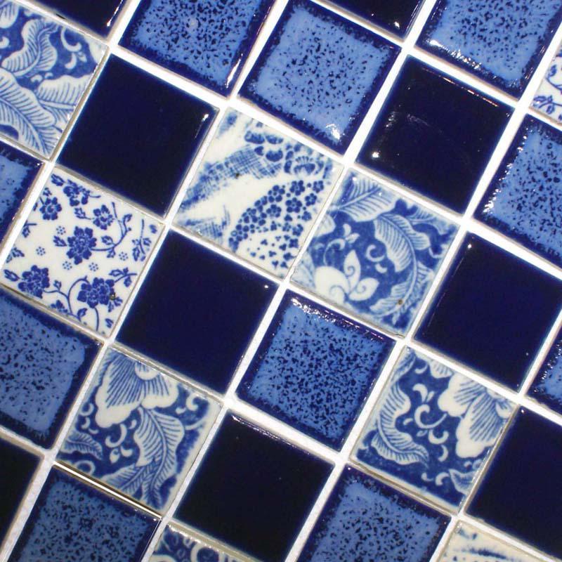 Blue mosaic tile shower floor picture of blue patterned for Blue patterned bathroom tiles