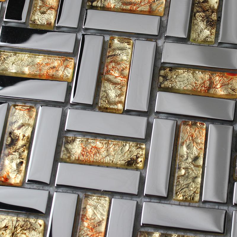 Mirror plated tile backsplash mirrored glass mosaic tiles for Mirror kitchen backsplash