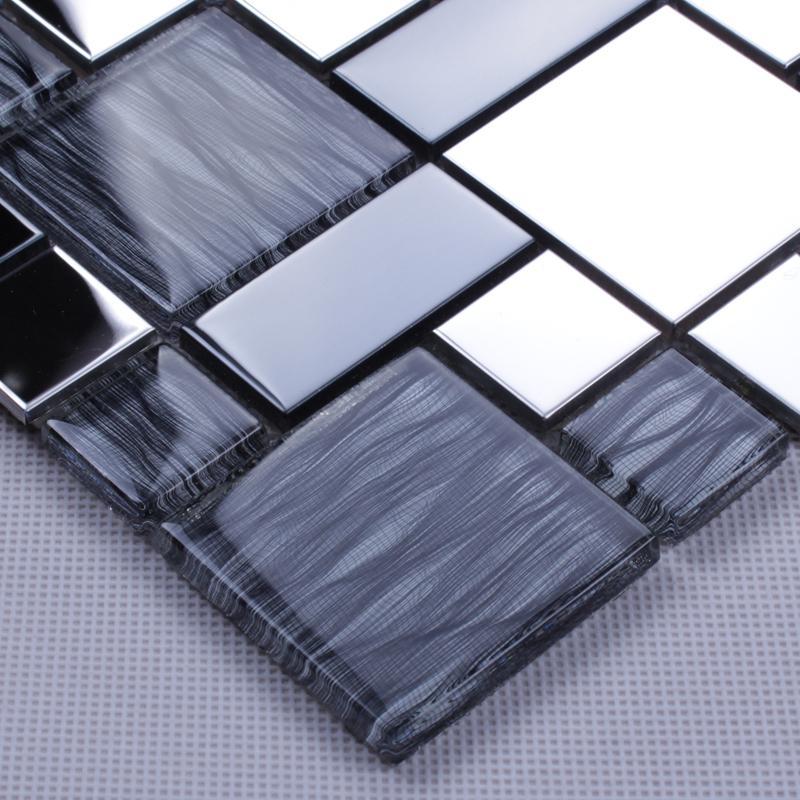 Metallic Backsplash Tiles Silver 304 Stainless Steel Sheet Metal And Crystal Glass Blend Mosaic Wall