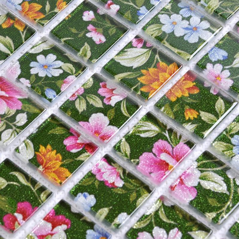 puzzle mosaic wall tiles for backsplash flower pattern design homint. Black Bedroom Furniture Sets. Home Design Ideas