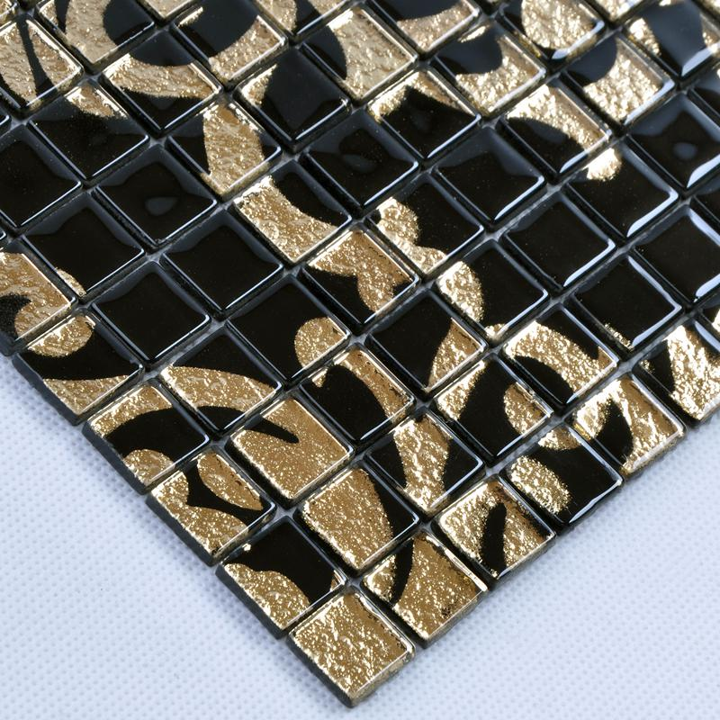 Crystal glass tile black puzzle mosaic hominter
