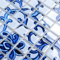crystal glass tile blue &white puzzle mosaic tile crystal backsplash kitchen mosaic wall tiles sm111