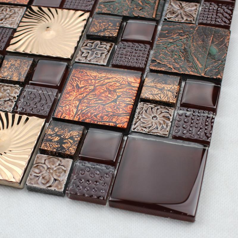 Brown Glass Tile Kitchen Backsplash: Black Glass Tile Silver Glass Mosaic Tiles Crystal