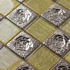 metallic backsplash tile back of procelain stainless steel sheet and crystal glass mosaic wall decor