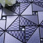 metallic mosaic tile blue diamond brushed aluminum panel metal wall decoration dining room mirror