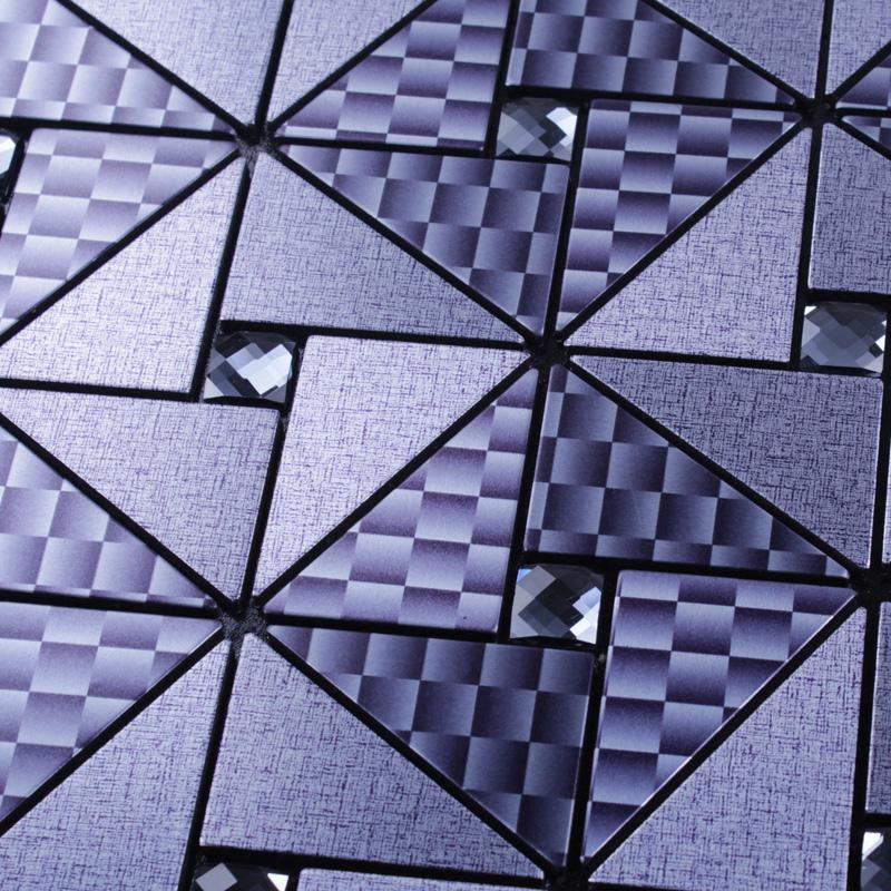 metallic mosaic tile grey square brushed aluminum panel metal wall dec. Black Bedroom Furniture Sets. Home Design Ideas