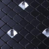 metallic backsplash tiles black stainless steel sheet metal and silver crystal glass blend mosaic
