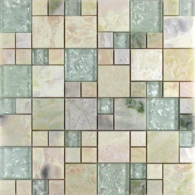 Wholesale Grey Stone With White Crystal Mosaic Tile Sheet