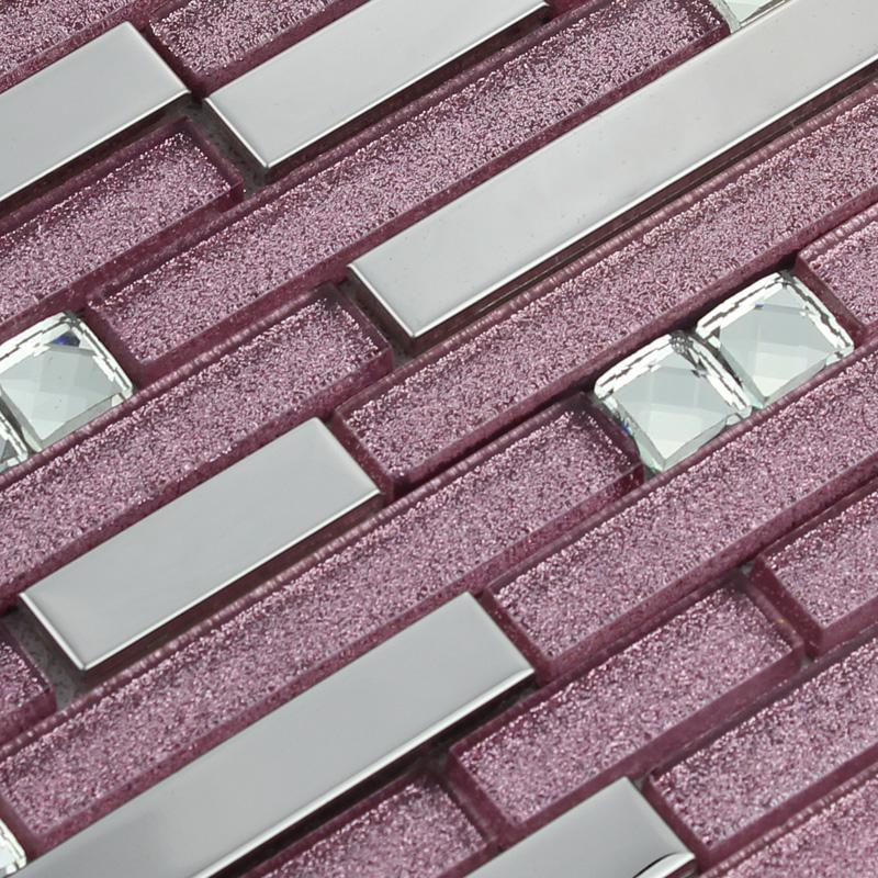 Metallic Backsplash Tile Diamond 304 Stainless Steel Metal Crystal Glass Mosaic Wall Decor 1635
