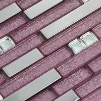 metallic backsplash tile diamond 304 stainless steel metal crystal glass mosaic wall decor 1635
