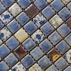 porcelain square coffee and blue mosaic design snowflake style kitchen backsplash wall tiles adt112