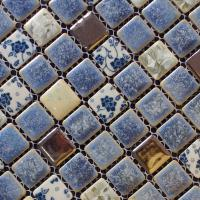 porcelain square coffee and blue mosaic design snowflake style kitchen backsplash wall tiles adt112