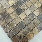 stone mosaic tile square brown pattern washroom wall marble backsplash floor tiles sgs58-15a