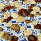 glazed porcelain pebble mosaic tiles design ceramic porcelain tile flooring kitchen backsplash ab30