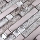 metallic backsplash tile diamond 304 stainless steel metal crystal glass mosaic wall decor hc-119