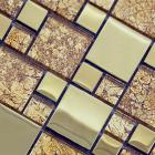 wholesale crystal glass square mosaic tile design porcelain plated flooring kitchen backsplash sa03
