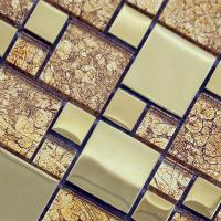 wholesale crystal glass square mosaic tile design porcelain plated flooring kitchen backsplash sa03