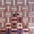metallic mosaic tile pink strip brushed aluminum metal wall decoration dining room mirror mh-275