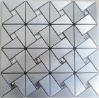 metallic mosaic tile backsplash triangle brushed diamond aluminum stainless steel blend mh-asj-005