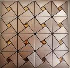 metallic mosaic tile backsplash triangle brushed diamond aluminum stainless steel blend mh-asj-007