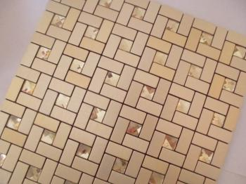 metallic mosaic tile gold strip brushed aluminum metal decoration dining room plated tiles 1530-125